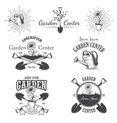 Set vintage garden center emblems vector