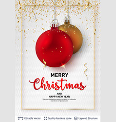 shiny christmas balls and text on light background vector image