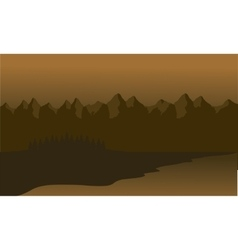 Silhouette of mountain lined vector