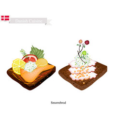 smorrebrod with seafood the national dish of denm vector image
