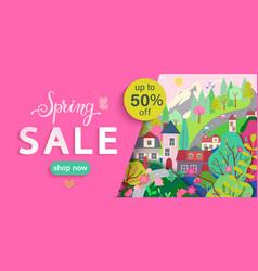 spring sale flyerbanner with springtime landscape vector image