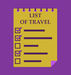 Travel checklist at white background lines vector