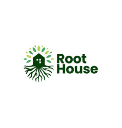 Tree root house home logo icon vector