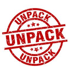 Unpack round red grunge stamp vector