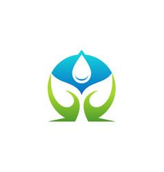 water drop nature leaf eco plant logo icon symbol vector image