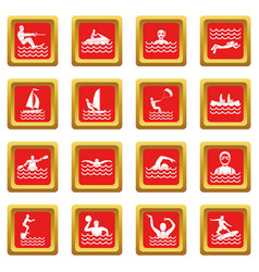 Water sport icons set red vector