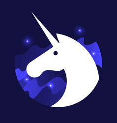 white magic unicorn vector image