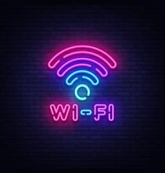 Wifi neon sign symbol neon glowing vector