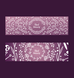 wreaths leaves and flowers set banners vector image