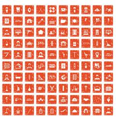 100 craft icons set grunge orange vector