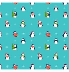 Cute penguins pattern - Merry Christmas greetings vector image vector image