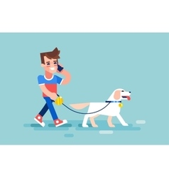 Guy walks his dog and talking on phone vector image vector image