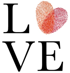 Love with red fingerprint heart vector