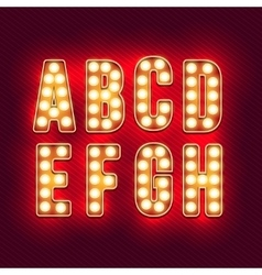 Vintage letters Set of retro neon alphabet part vector image