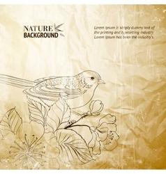 Bird on twig vector image