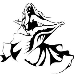 dancing woman - black outline vector image vector image