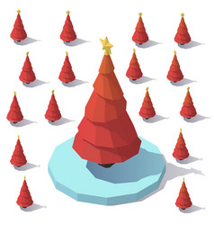 Lowpoly christmas red tree vector