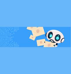 robot holding envelopes email letters chatter bot vector image