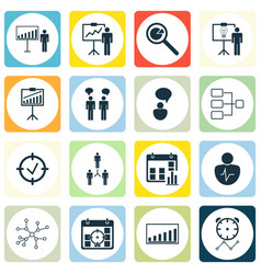 set of 16 authority icons includes approved vector image