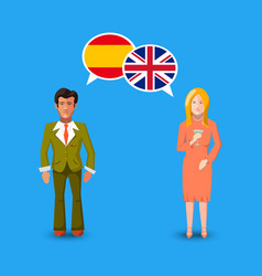 Two people with white speech bubbles with great vector