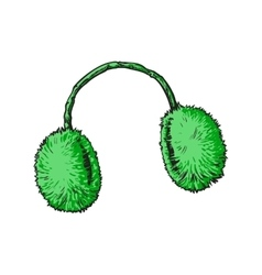 Bright green fluffy fur ear muffs vector