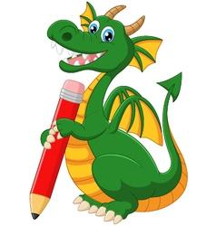 Cartoon dragon holding red pencil vector image
