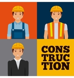 construction workers cartoon icon vector image