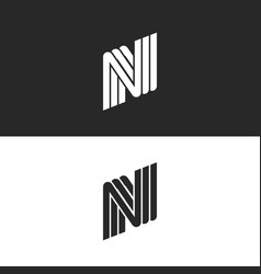 creative monogram letter n logo black and white vector image