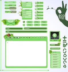 Elements for eco friendly web design Green set vector image