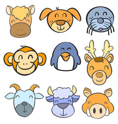 collection stock animal head funny doodle style vector image