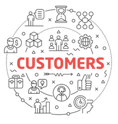customers linear slide for the vector image