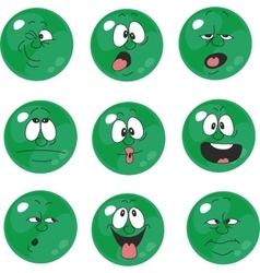 Emotion smiles green color set 006 vector image vector image