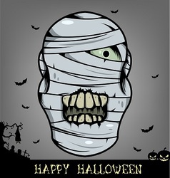 Halloween mummy head vector image vector image
