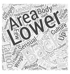 Lower back tattoos word cloud concept vector