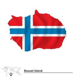Map of bouvet island with flag vector