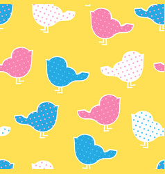 seamless pattern with colorful birds silhouettes vector image