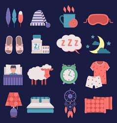 Sleep nignt time related icons set vector