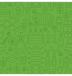 Thin Line Oktoberfest Holiday Seamless Green vector image vector image