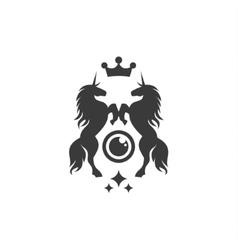 Two Unicorns crown shine flat style vector image