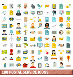 100 postal service icons set flat style vector image