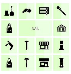 14 nail icons vector