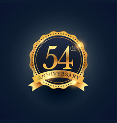 54th anniversary celebration badge label in vector