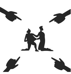Accused men and hands pointing them vector