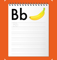 Alphabet tracing worksheet with letter b and b vector