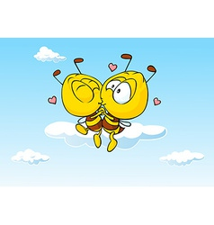 Bee in love kissing - cute vector