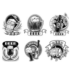 Beer icons or badges with foaming alcohol drink vector