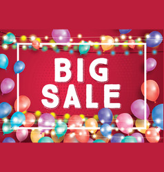 big sale poster on red background with flying vector image