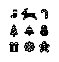Black christmas icon vector