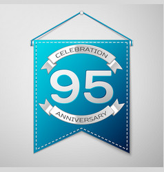 blue pennant with inscription ninety five years vector image