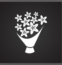 Bridal bouquet icon on black background for vector
